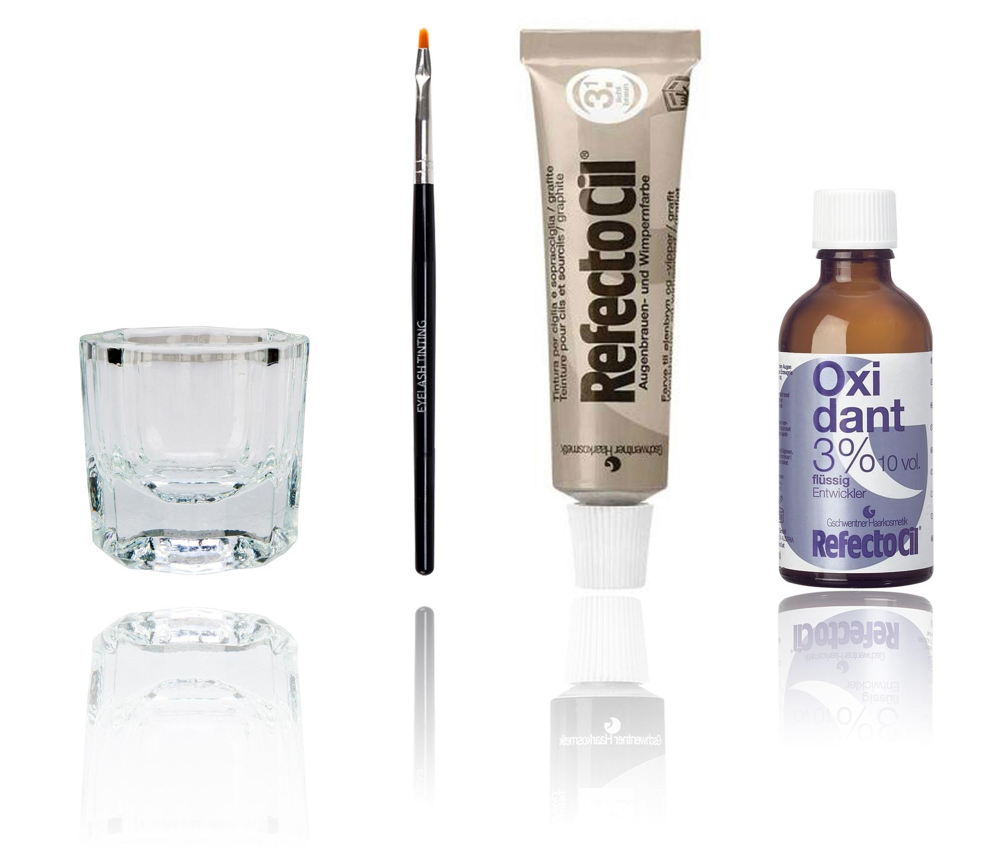 Refectocil Eyelash Tint Eyebrow Tinting Dye Kit Brush Dish Developer Eye Lashes