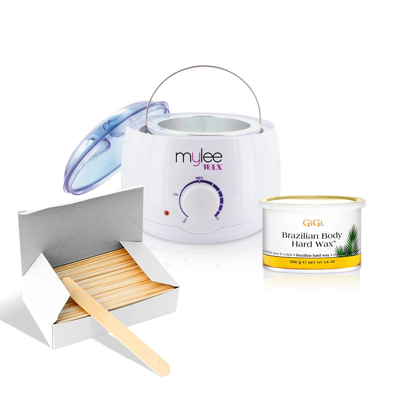 Depilatory Brazilian Wax Kit Heater Gigi Hard Wax Spatulas