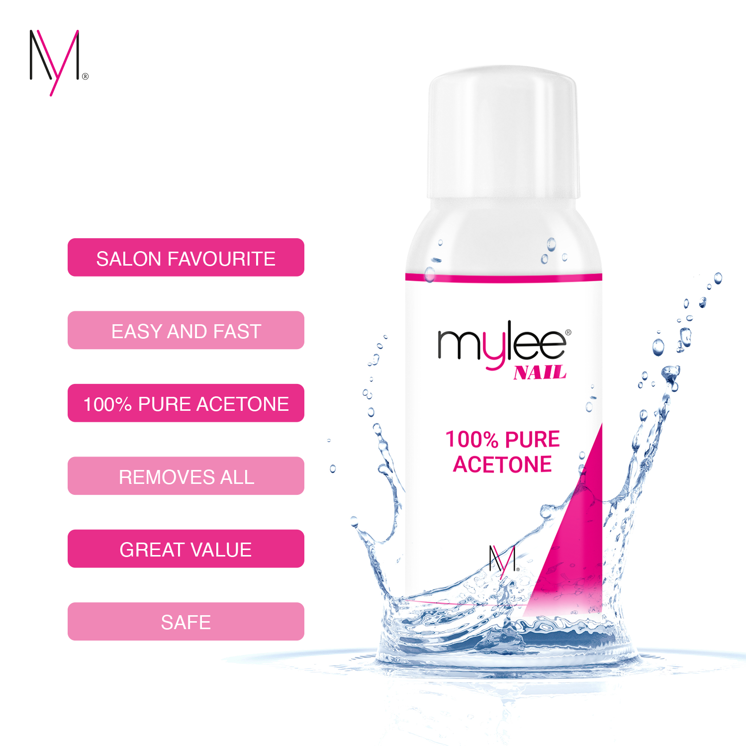Mylee 100 Pure Acetone Superior Quality Nail Polish Remover Uv Led Gel Soak Off Ebay
