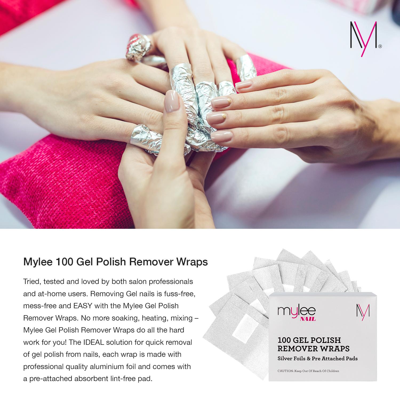 Mylee Remover Wraps Foil Soak Off Acetone Nail Gel Polish 100 pcs ...