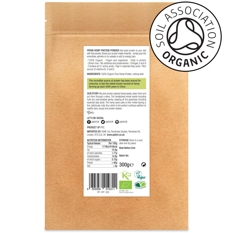 Pipkin Pure Hemp Plant Protein Powder 100% Organic Raw